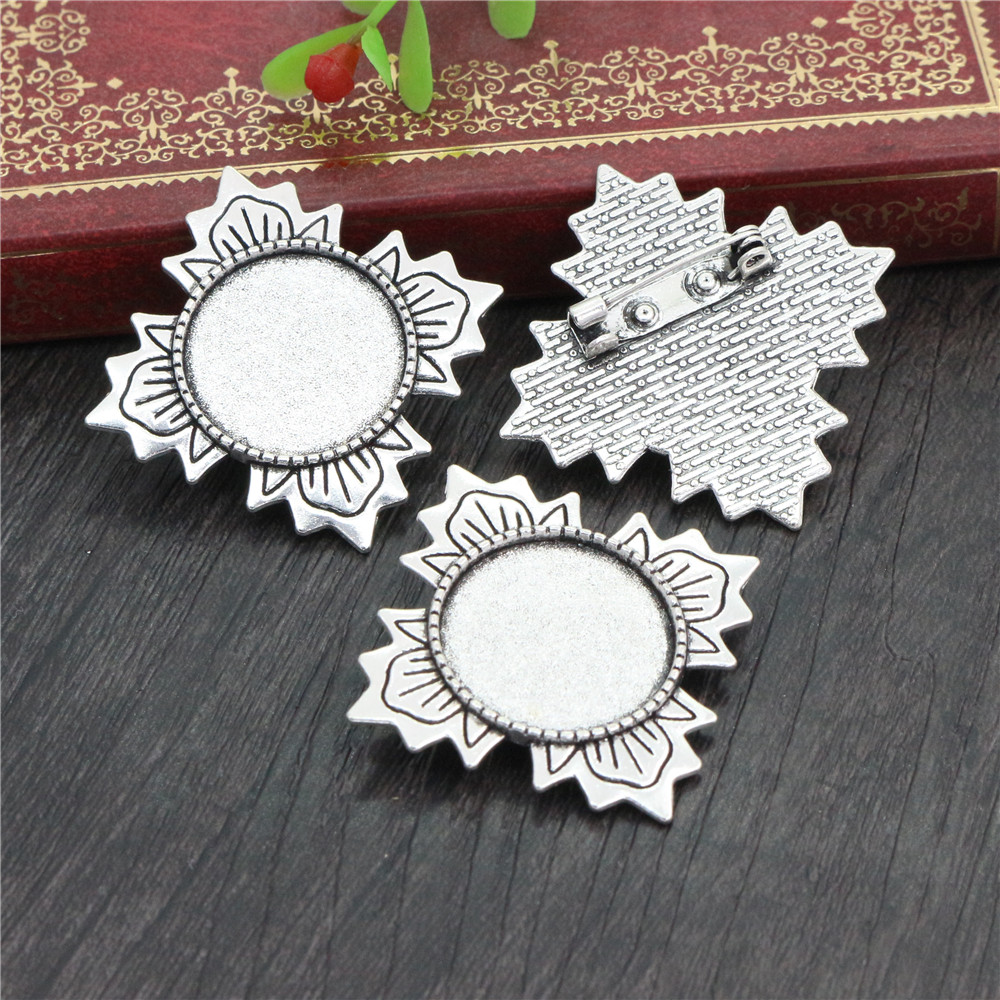 5pcs 20mm Inner Size Antique Silver Plated Brooch Pin Fashion Style Cabochon Base Setting-R7-05
