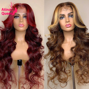 13x6 Colored Human Hair Wigs 99J Burgundy Lace Front Wig Highlight Honey Blonde Wig Remy Preplucked Natural Hair Wigs For Women(China)