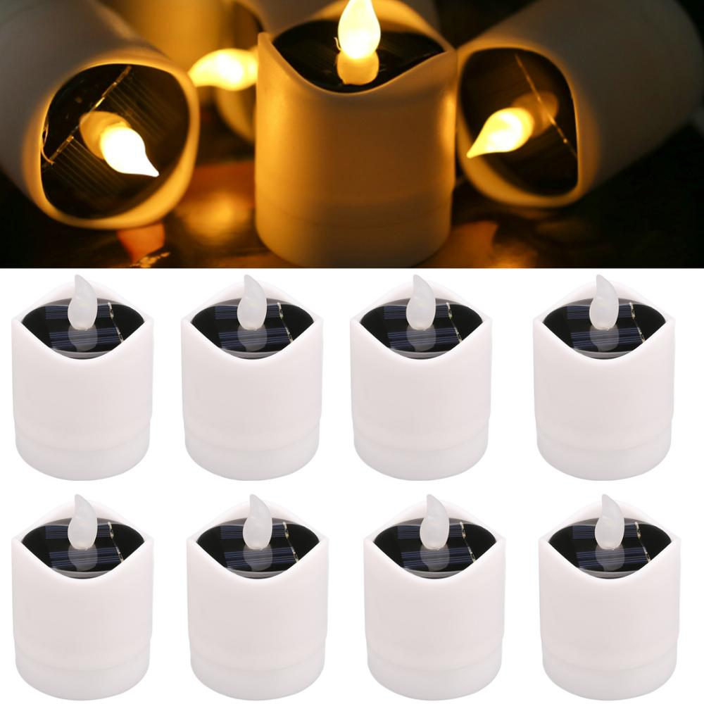 Auto On off 2X Solar Sensor Candle Light Electronic Flickering LED Tea Light Flameless Night Lamp Party Wedding Camping Decors