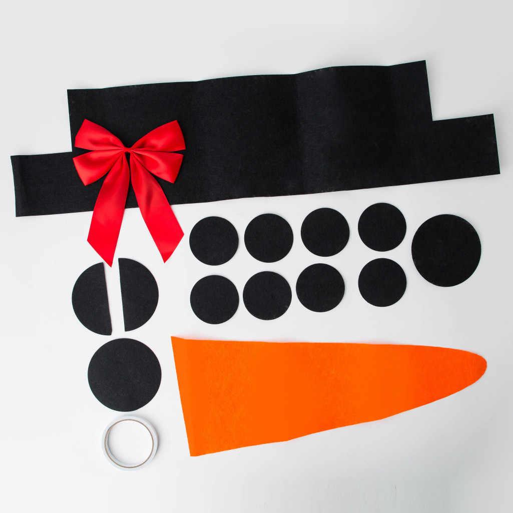 16 pièces/ensemble robe de noël costume décorations de noël pour la maison bricolage feutre bonhomme de neige nœud chapeau nouvel an décor extérieur livraison directe