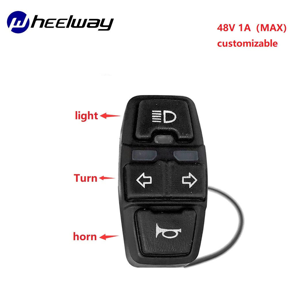 WHEELWAY Electric Bicycle Motorcycle ATV Switch Horn Button Turn Signal Electric Fog Light Start Handlebar Controller Switch