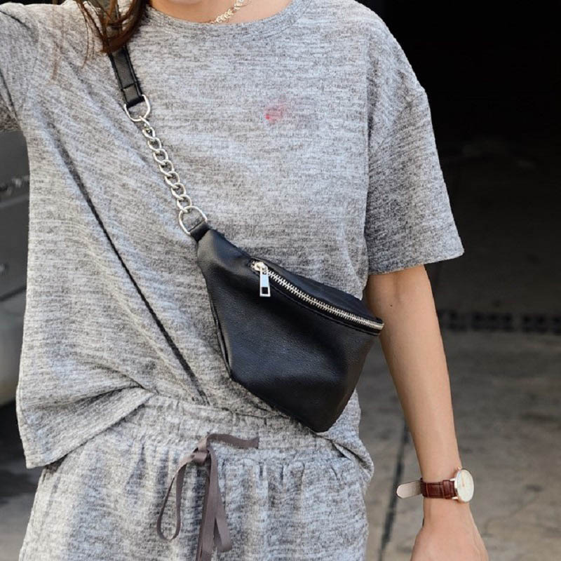PU Leather Waist Bags Women Retro Hip Belt Fanny Pack 2019 Fashion Travel Chest Bag Mini Waterproof Money Purse Lady Banana Bag