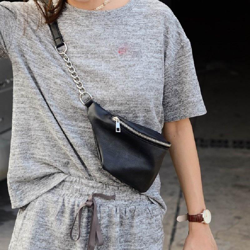 PU Leather Waist Bags Women Retro Hip Belt Fanny Pack 2019 Fashion Travel Chest Bag Mini Waterproof Money Purse Lady Banana Bag