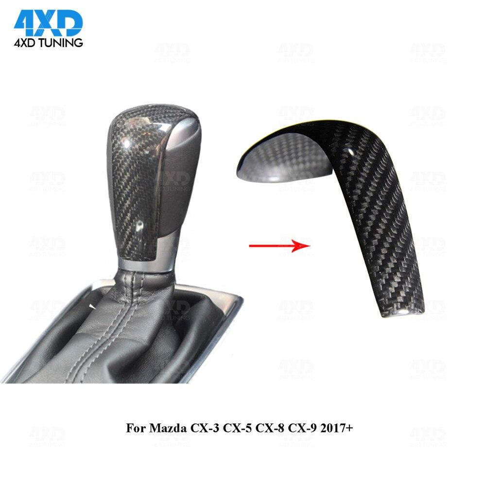 CX 3 פחמן Gear Shift Knob כיסוי למאזדה CX 5 CX 8 CX 9 סיבי פחמן הגה תיקון Trim כיסוי 2017 2018 2019-בקצה ידית הילוכים מתוך רכבים ואופנועים באתר 4XD TUNING Store