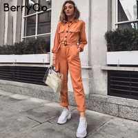 BerryGo Casual cargo de algodón monos femeninos naranja sash pocket sport womens jumpsuit mameluco Chic Otoño Invierno señoras overoles