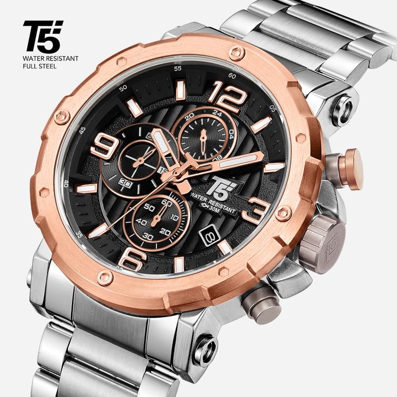 High quality Luxury brand T5 steel band Man designer Quartz  Chronograph Waterproof  Mens Watches Wristwatches Sport Watch|Quartz Watches| |  -