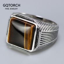 Authentic Sterling Silver 925 Man Ring With Tiger Eyes Fine Jewelry Stripe Pattern Natural Stone Cool Retro Punk Ringen
