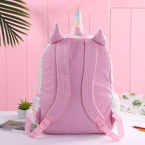 Image 5 - Детский рюкзак с блестками и единорогом, детские школьные сумки для девочек подростков, милый рюкзак с мультипликационным принтом, большой рюкзак для младенцев