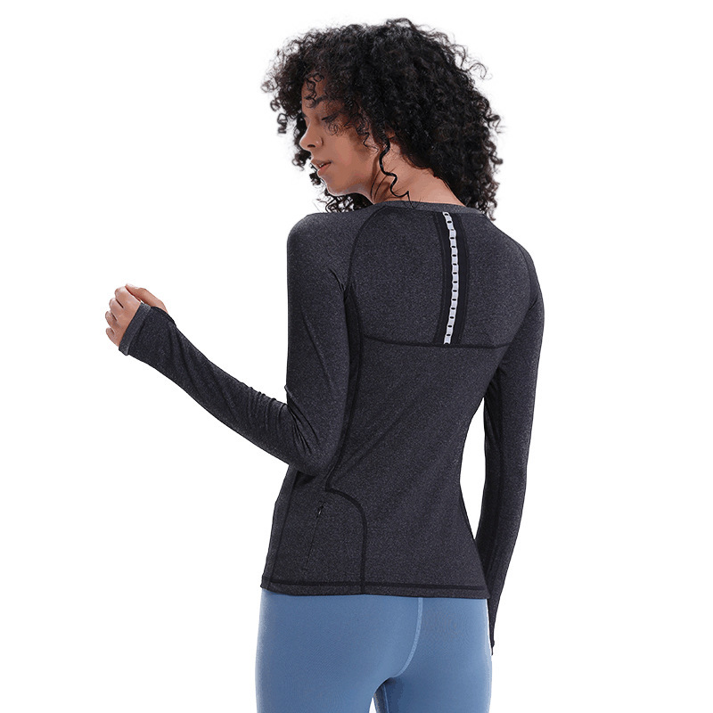 Women 39 s Long Sleeve Yoga Top Sportswear Gym Fitness Quick Dry Running Tops Workout T Shirt with Thumb Hole Pocket Sport Shirts in Yoga Shirts from Sports amp Entertainment