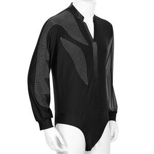 Image 2 - iiniim Men Adults V neck Side Shiny Rhinestones Ballroom Latin Tango Rumba Dance Costumes Shirt Leotard Bodysuit Shirt Tops