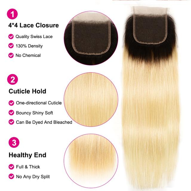 """Ali Julia Hair Ombre blond # T1B/613 10 """"-20"""" Cal wysoki stosunek brazylijski proste włosy 3 lub 4 zestawy z zamknięcie koronki Remy włosy"""