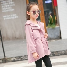 Hot Baby Girls Trench Coats 4-16 Years Old Kids 2019 Autumn Chidlren Solid Children Windbreaker Hooded Zipper Outerwear