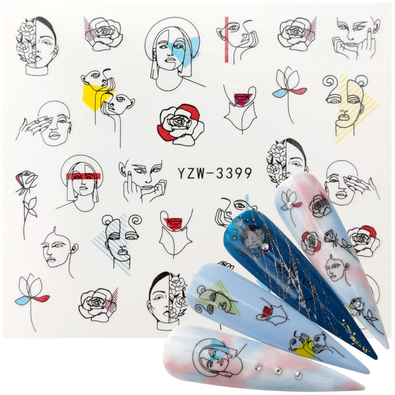 2020 New Designs Black Line Coloful Abstract Image Nail Sticker Decals Sexy Girl Water Transfer Slider For Nails Art