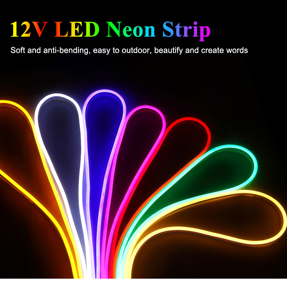 LED Lighting LED Neon Light  Flex Sign Board Ambilight DC12V 60leds/M LED Strip Rope Light Waterproof IP67 With Adapter D4