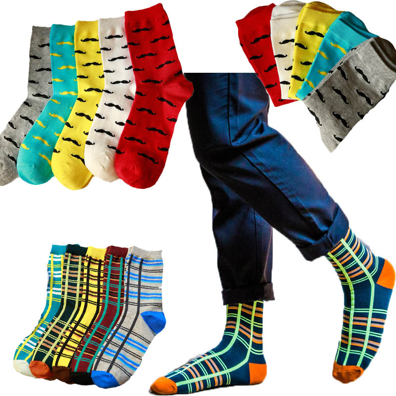 Japanese Cotton Colorful Seven Color Fashion Cartoon Cute Funny Happy Kawaii Striped Plaid Girl Christmas Gift Men's Long Socks