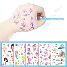 1PC Mermaid Princess Waterproof Temporary Tattoo Stickers Girls Fake Tattoo Flash Body Art Tatoo Christmas Gift for Children(China)