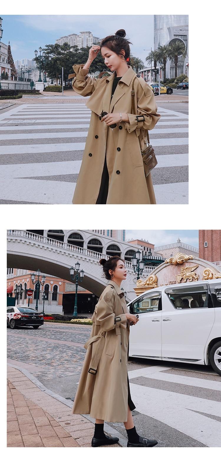 H10e17c88f63d4162b38f32b089709b12D 2021 Autumn Women Trench Coat With Belt Women Clothes Blue Coat Casaco Feminino Harajuku Abrigo Mujer Long Trench Femme