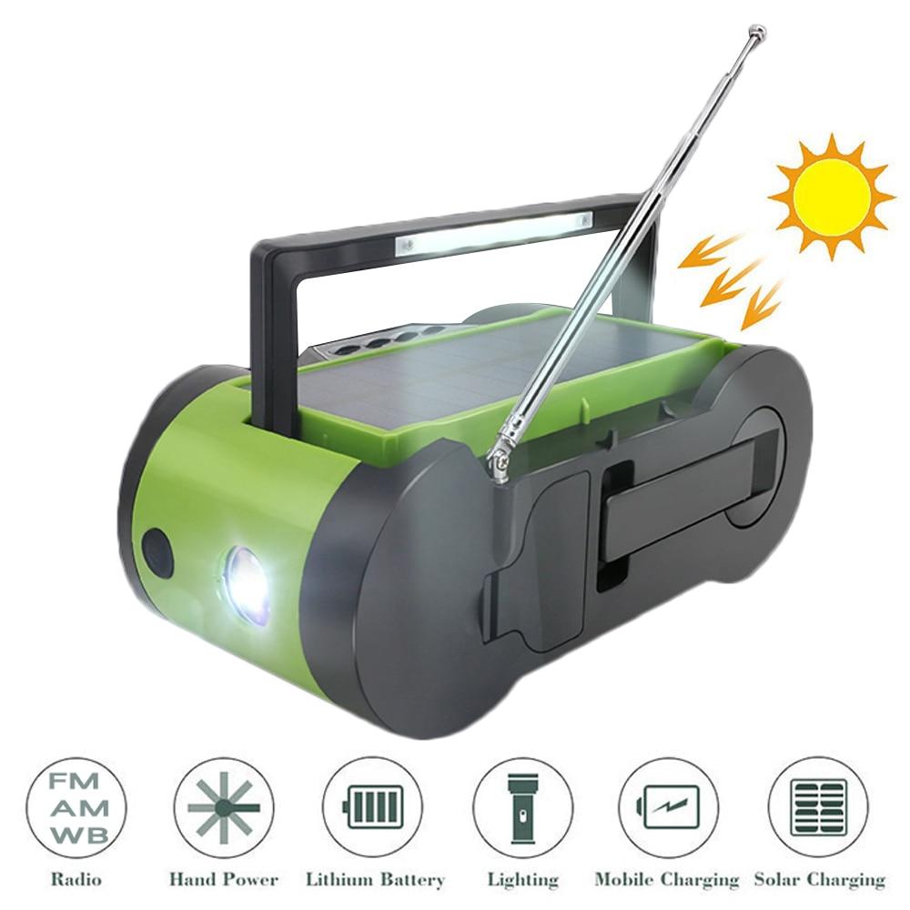 LED Flashlight Rechargeable Solar Radio Crank Emergency AM/FM Weather With 2000MAh Power Bank Hand Crank Light Torch