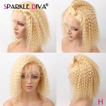 613 blond Bob koronki przodu peruki kręcone ludzkie włosy peruki 150 Remy przezroczyste koronkowe peruki 13 #215 4 koronki przodu peruki z ludzkich włosów wstępnie oskubane tanie i dobre opinie SPARKLE DIVA ludzkie włosy remy średni rozmiar