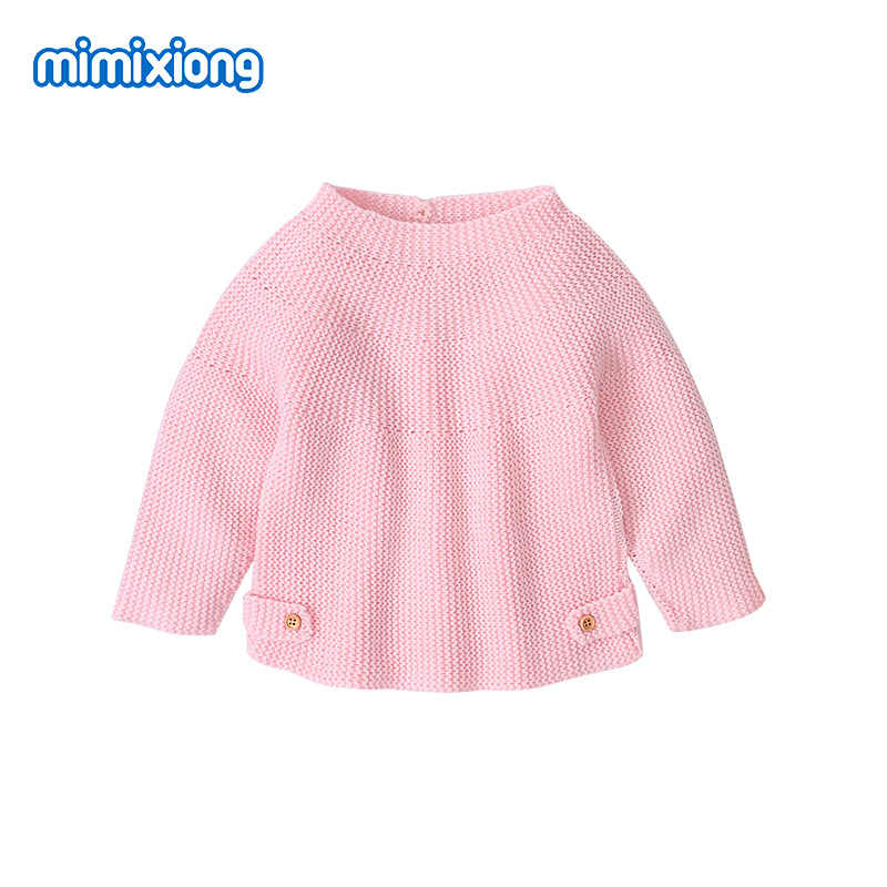 Swetry dziecięce swetry moda solidna dzianina dzianiny topy jesień zima noworodka ubrania 0-18M z długim rękawem