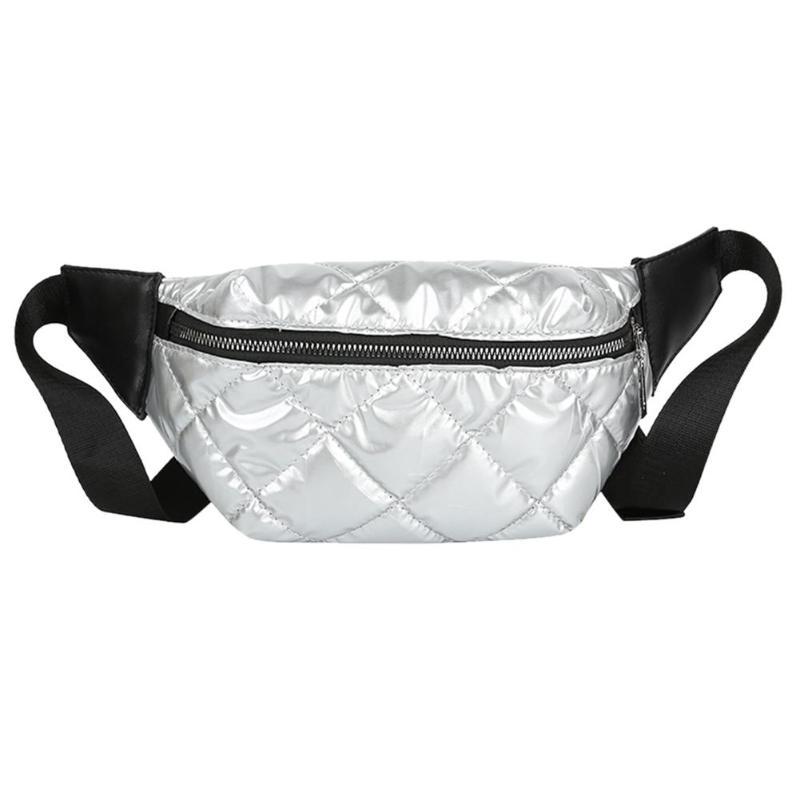 Women Waist Bags Women Pink Silver Fanny Pack Female Belt Bag Black Waist Packs Laser Chest Phone Pouch