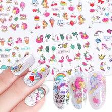 Adesivos de flamingo para unhas 12pçs, adesivos bonitos de desenho animado para decoração de unha de manicure, ferramentas decalque de água, decoração para unhas JIBN1057 1068