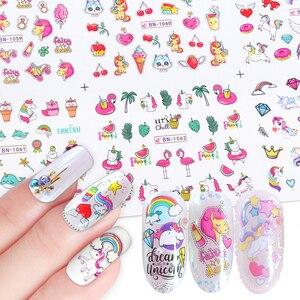 Image 1 - Adesivos de flamingo para unhas 12pçs, adesivos bonitos de desenho animado para decoração de unha de manicure, ferramentas decalque de água, decoração para unhas JIBN1057 1068