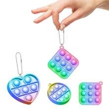 Mini Push-Pops Blase Sensorischen Spielzeug Keychain Autismus Squishy Stressabbau Spielzeug für Erwachsene Kinder Erleichterung Lustige Pop-es zappeln Spielzeug