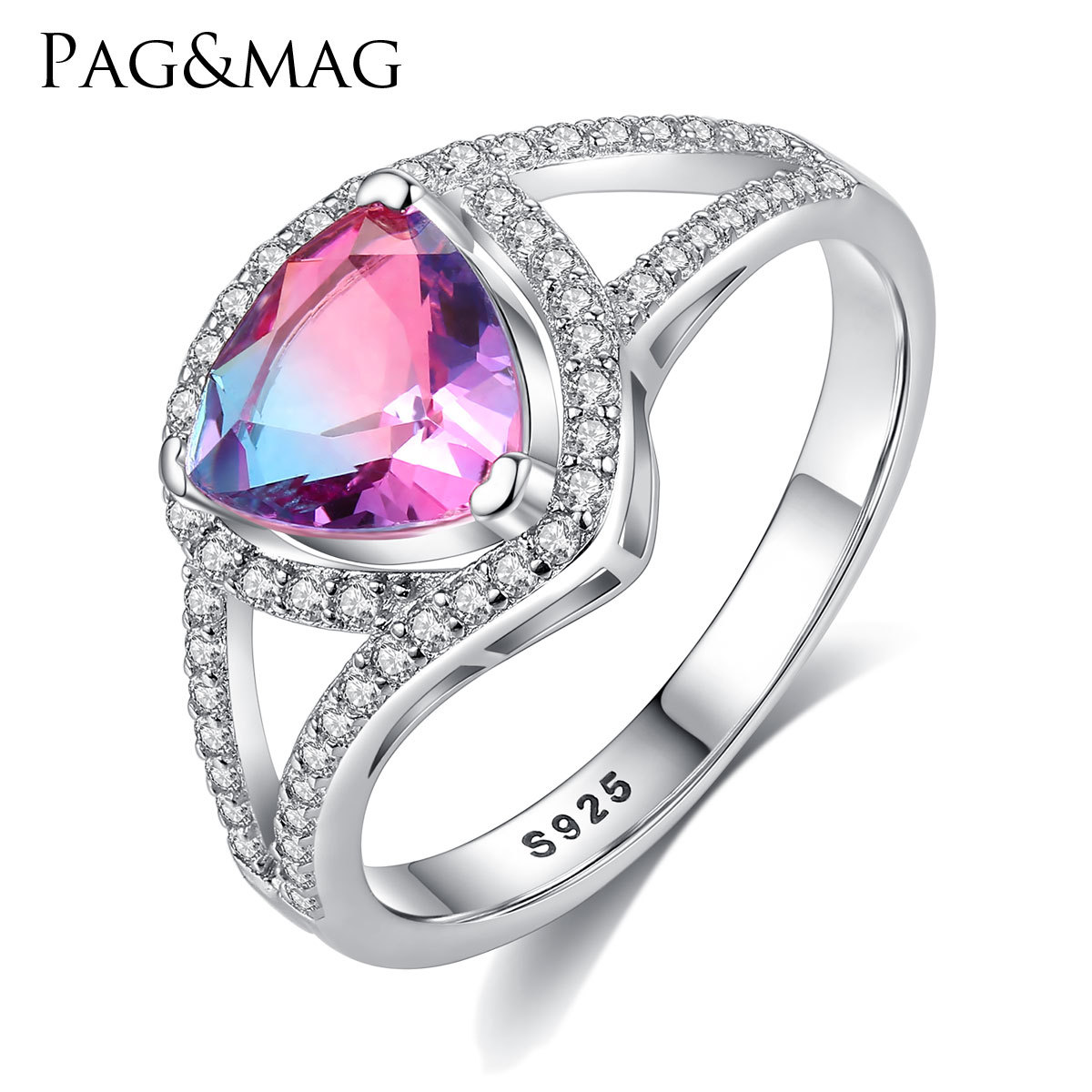 PAG & MAG S925 all in pure silver lovely heart ring set with 3A zircon Korean fashion colorful crystal ring(China)