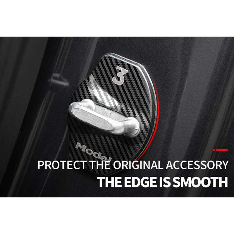 Protective Door Latch Lock Cover Carbon Fiber Fit Tesla Model 3 Accessories 4PCS