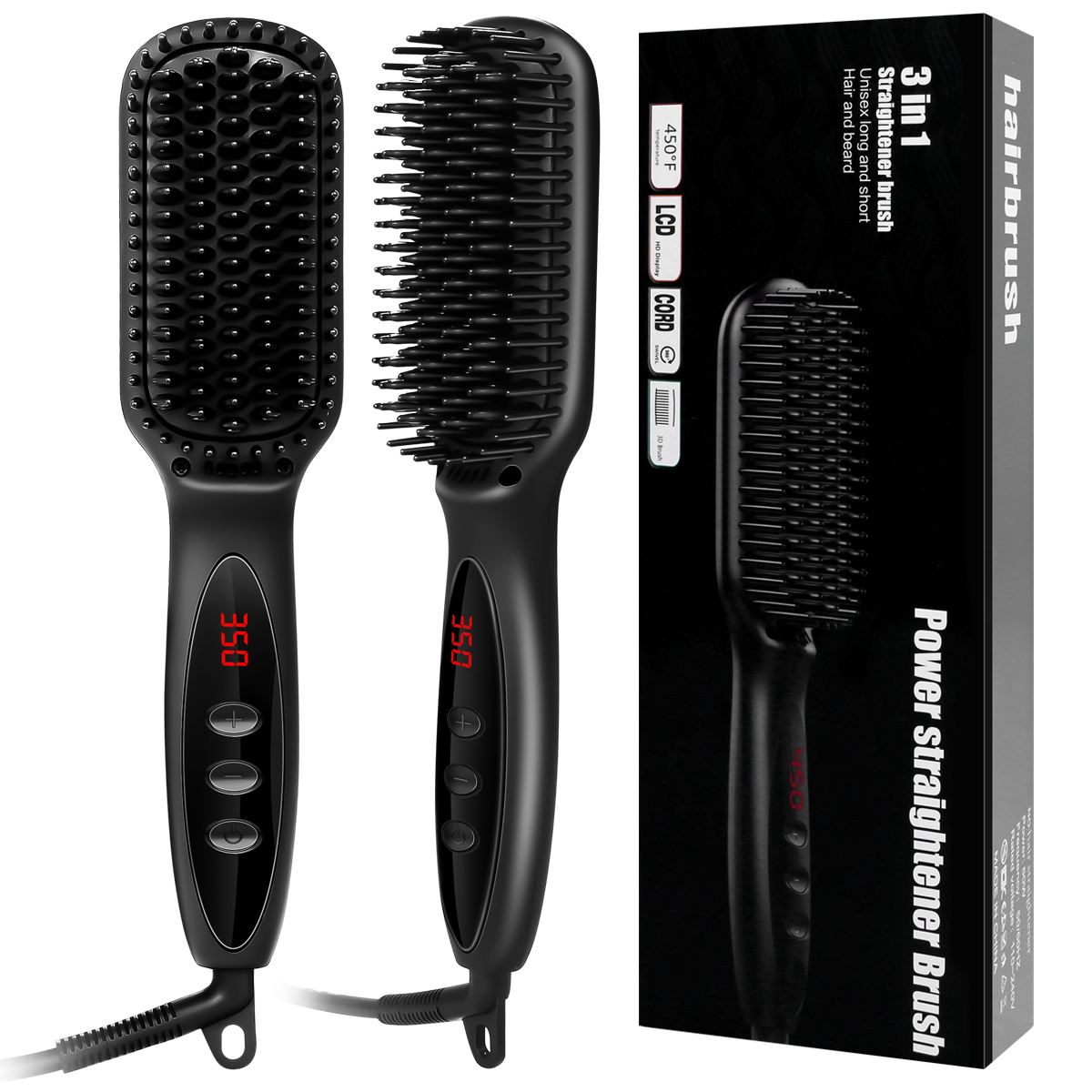 Electric Hair Straightening Brush Electric Ceramic Straightening Brush Wet & Dry Dual Use for Hair beard Hair Care Styling Tools