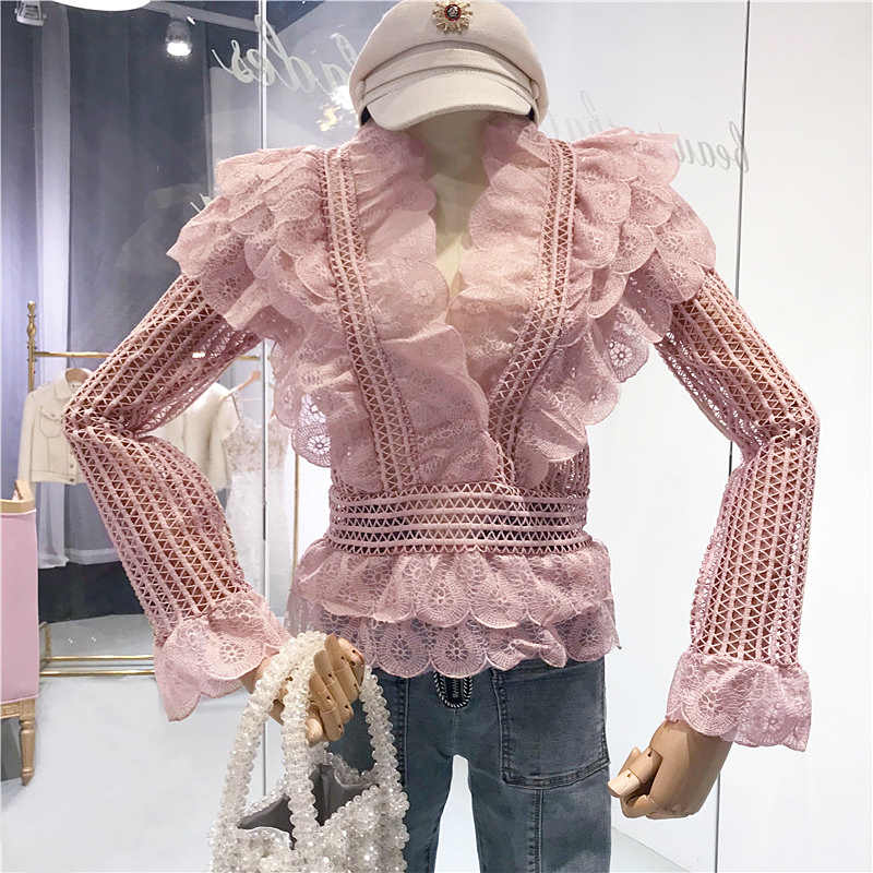 HAMALIEL Runway Women Pink Layers Ruffles Shirt Blusas Spring Fashion Lace Hollow Out Ladies V Neck Blouse Slim Flare Sleeve Top
