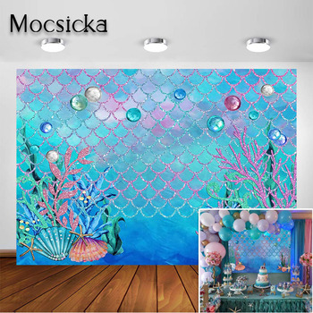 Mocsicka Little Mermaid Scales Backdrop Under The Sea Birthday Party Ocean Baby Shower Decorations Background Photobooth Studio