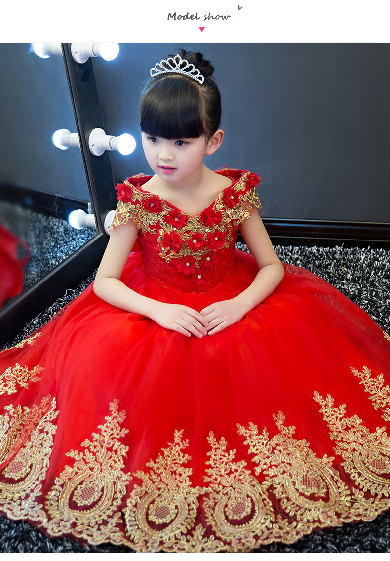 Flower Girl Dresses Wedding Ball Gown V-neck Long Kids Dress Birthday Gifts Princess Dress Cosplay Costume Sequined Appliques