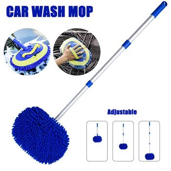Car Washing Mop Car Cleaning Dust Wax Adjustable Mop 2 in 1 Chenille Microfiber Car Wash Mop Mitt Wash Brush Cleaning Mop