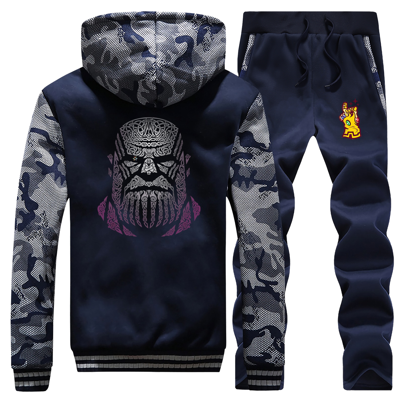 Hot Sale 2019 Winter Infinity Gauntlet Thanos The Avengers Mens Camouflage Anime Sportswear Hoodies Coat Thick+2 Piece Set Pants