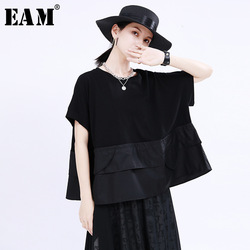 [EAM] Women Black Big Pocket Split Joint Big Size T-shirt New Round Neck Half Sleeve Fashion Tide Spring Summer 2021 1U166
