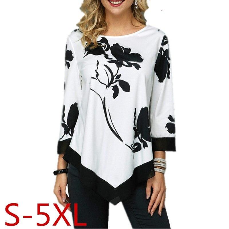 Mais tamanho S-5XL mulheres topos t primavera outono feminino floral impressão t camisa casual o-pescoço irregular t camisa grande tamanho pulôver superior