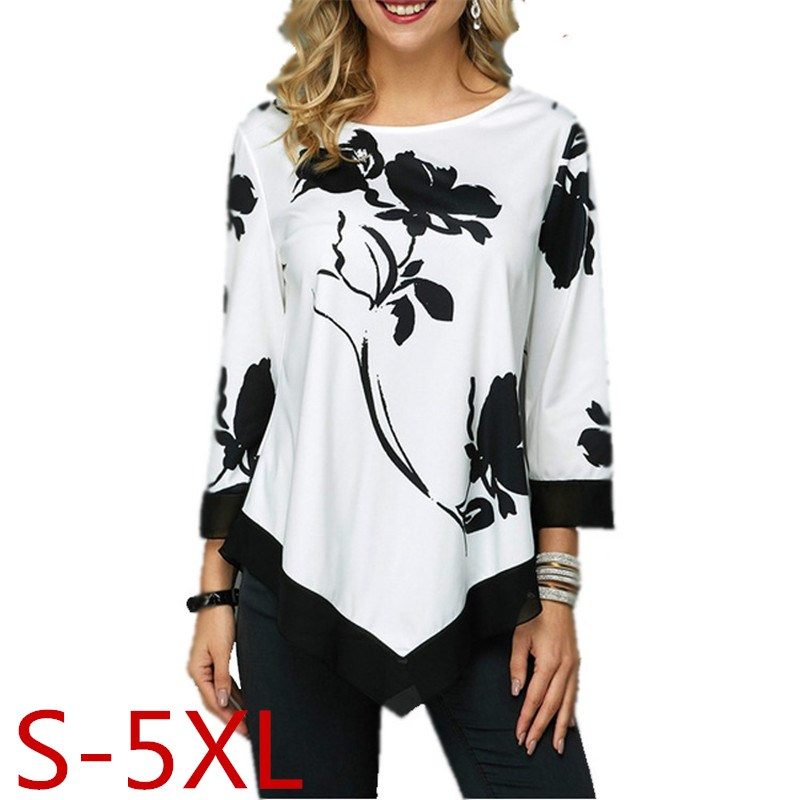 Plus Size S-5XL Women Tops Tee Spring Autumn Female Floral Print T Shirt Casual O-Neck Irregular T Shirt Large Size Top Pullover