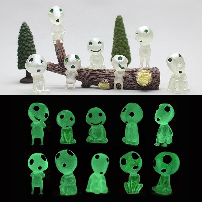 Ghibli Кодама Дух Дерева Принцесса Мононоке Мини фигурки светятся в темноте светящаяся эльфа дерево куклы мультфильм фигурки мини игрушки