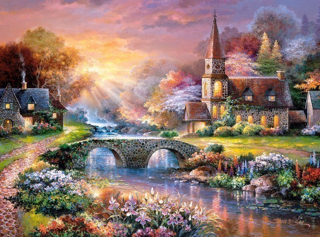 Assembling Jigsaw Puzzle 3000 Pieces Sheet Dawn Cottage Quiet Reflection Educational Toys