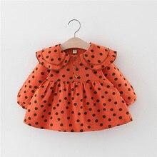 цены Baby Girl Clothes 0-3T Cute Toddler Girls Dress Polka Dot Pattern Cotton Long Sleeve Dress Double Layer Lapel Princess Dress #14