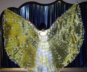 Image 5 - Женский белый костюм с крыльями ангела, светодиодами Isis, с палочками, золотой цвет, аксессуар для костюма Bellydance, 360, бесплатная доставка