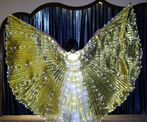 Image 5 - Women White Costume Angel LED Isis Wing With Sticks  Golden Colorful Bellydance Costume Accessory 360 Open Free Shipping
