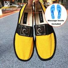 F.N.JACK Massage Insole Womens Canvas shoes Flats Fashion Espadrille Rubber Soles Scarpe Uomo loafers Rubber platform shoes