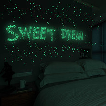 Home Decoration 100 Pcs 3D Star Month Fluorescent Childrens Room Living Wall Paste in the Dark Glow Stickers