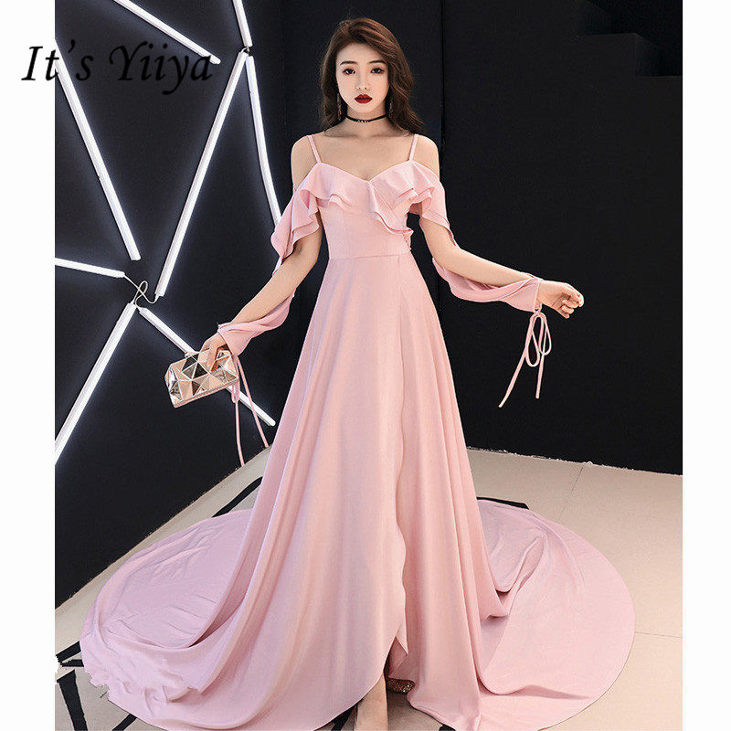 It's Yiiya Evening Dress 2019 Elegant Plus Size Boat Neck Robe De Soiree Full A-Line Court Train Pink Women Party Dresses E783