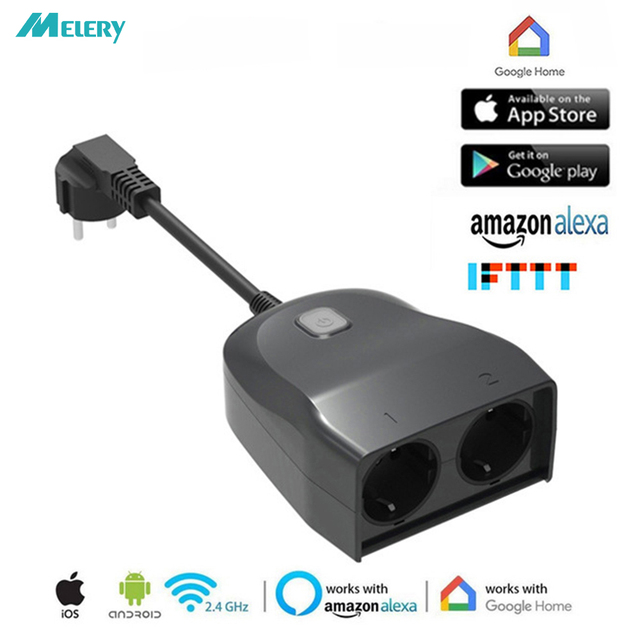 Wifi Smart multiprise extérieur ue prise adaptateur prises électriques résistant aux intempéries télécommande sans fil travail par Alexa Google Home