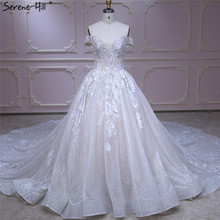 Champagne Off Shoulder Vintage Wedding Dresses 2020 High end Sequined Sparkle Bride Gown Real Photo HA2313 Custom Made