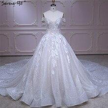 Marfil fuera del hombro Vintage sexy vestido de novia 2020 lentejuelas Sparkle sin mangas de lujo novia vestido foto auténtica HA2226 hecho a medida